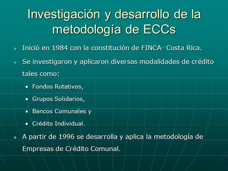 Investigación y desarrollo de la metodología de ECCs Inició en 1984 con la constitución de FINCA- Costa Rica. Inició en 1984 con la constitución de FI