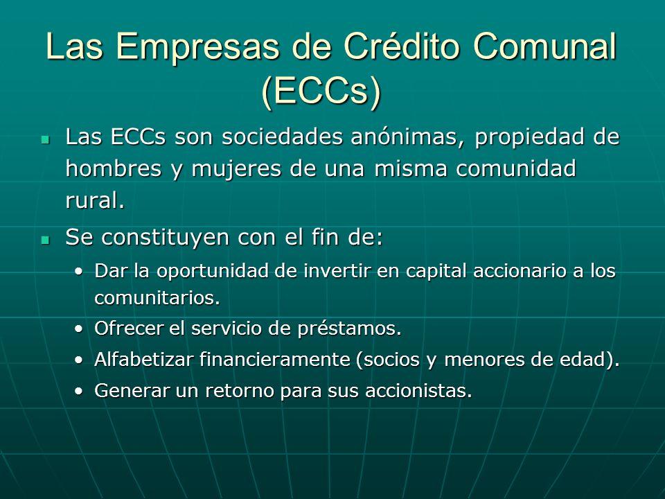 Las Empresas de Crédito Comunal (ECCs) Las ECCs son sociedades anónimas, propiedad de hombres y mujeres de una misma comunidad rural. Las ECCs son soc