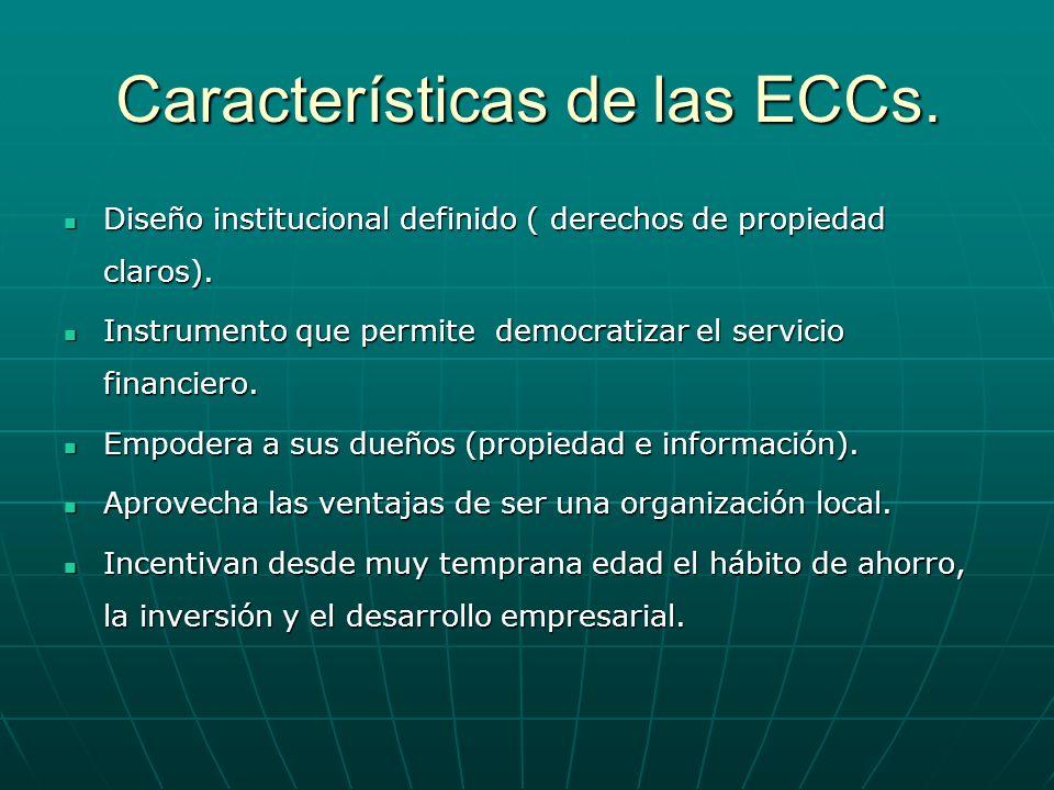 Características de las ECCs. Diseño institucional definido ( derechos de propiedad claros). Diseño institucional definido ( derechos de propiedad clar
