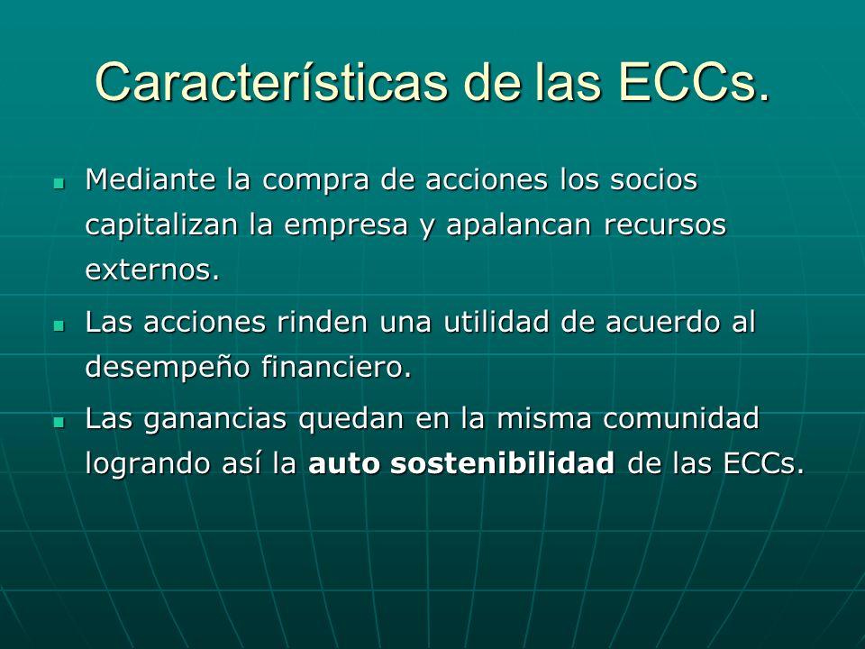 Características de las ECCs. Mediante la compra de acciones los socios capitalizan la empresa y apalancan recursos externos. Mediante la compra de acc