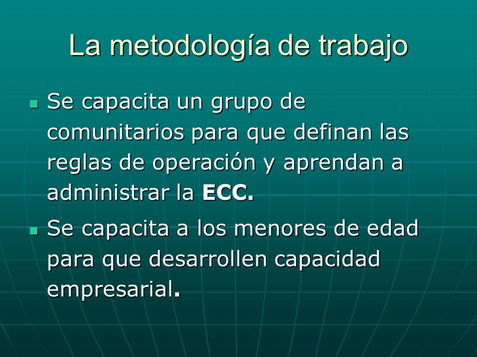 La metodología de trabajo Se capacita un grupo de comunitarios para que definan las reglas de operación y aprendan a administrar la ECC. Se capacita u