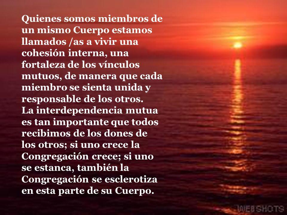 1.2 AMOR E INTERDEPENDENCIA MUTUA Nuestro vivir supone que hemos de darnos entre nosotros /as el testimonio de la más exquisita caridad, y esta Carida