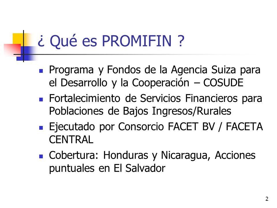2 ¿ Qué es PROMIFIN ? Programa y Fondos de la Agencia Suiza para el Desarrollo y la Cooperación – COSUDE Fortalecimiento de Servicios Financieros para