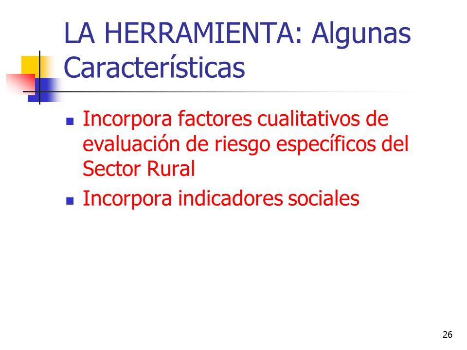 26 LA HERRAMIENTA: Algunas Características Incorpora factores cualitativos de evaluación de riesgo específicos del Sector Rural Incorpora indicadores