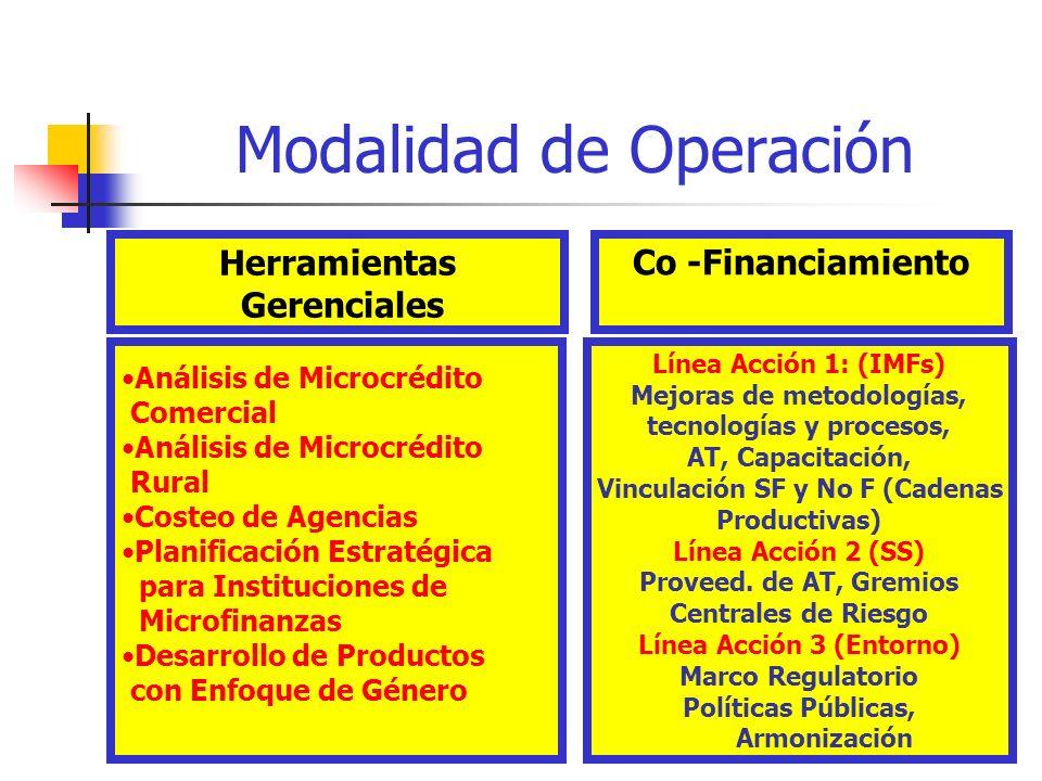 3 Modalidad de Operación Herramientas Gerenciales Análisis de Microcrédito Comercial Análisis de Microcrédito Rural Costeo de Agencias Planificación E