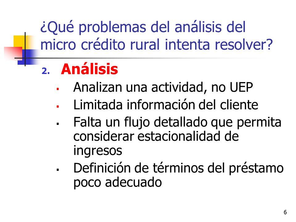 6 ¿Qué problemas del análisis del micro crédito rural intenta resolver? 2. Análisis Analizan una actividad, no UEP Limitada información del cliente Fa