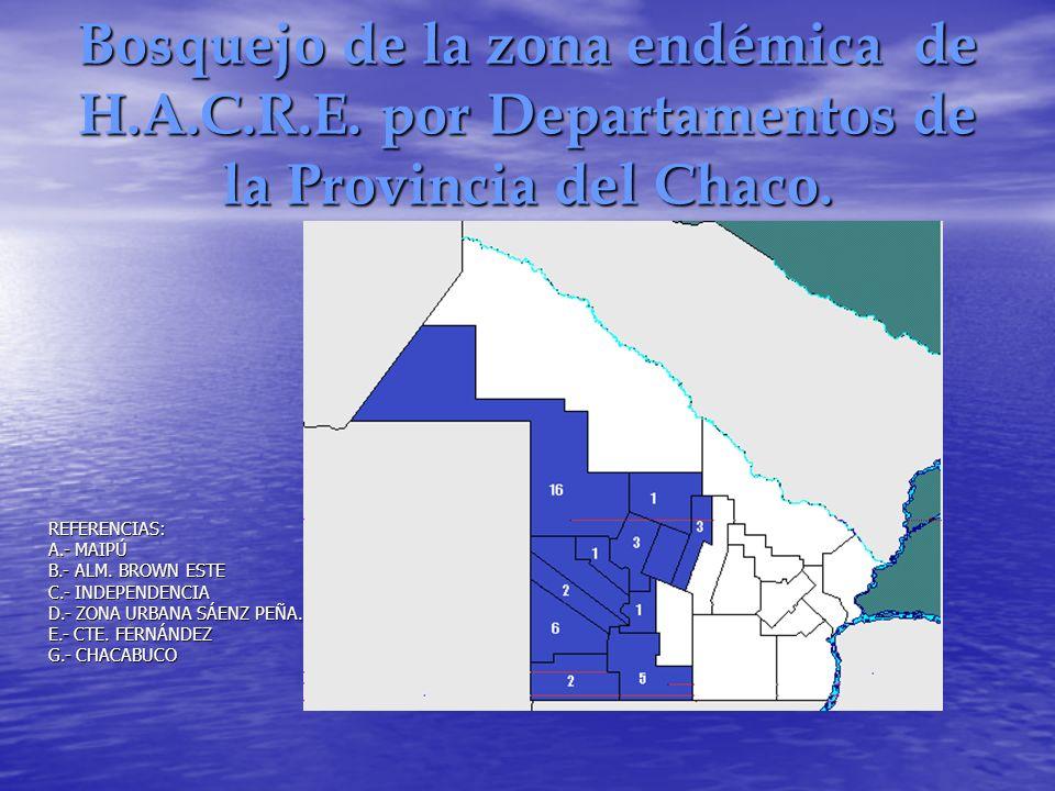 Bosquejo de la zona endémica de H.A.C.R.E. por Departamentos de la Provincia del Chaco. REFERENCIAS: A.- MAIPÚ B.- ALM. BROWN ESTE C.- INDEPENDENCIA D