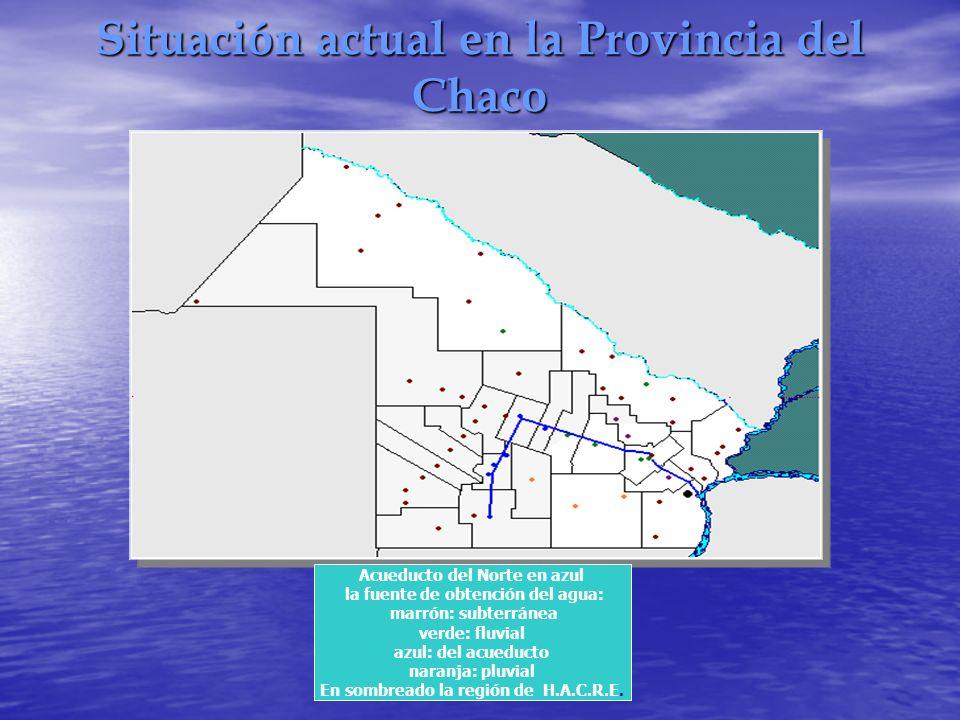 Situación actual en la Provincia del Chaco Acueducto del Norte en azul la fuente de obtención del agua: marrón: subterránea verde: fluvial azul: del a