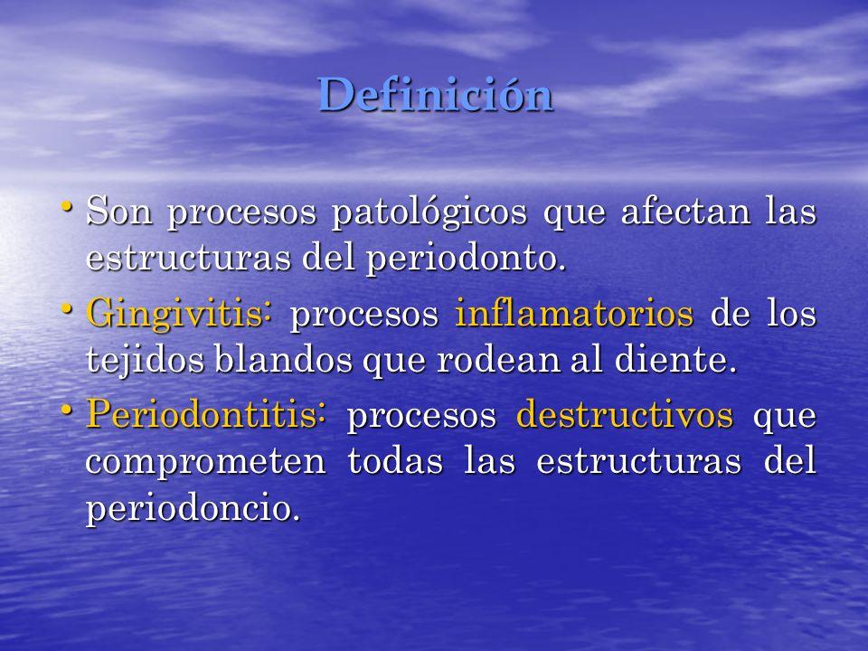 Definición Son procesos patológicos que afectan las estructuras del periodonto. Son procesos patológicos que afectan las estructuras del periodonto. G
