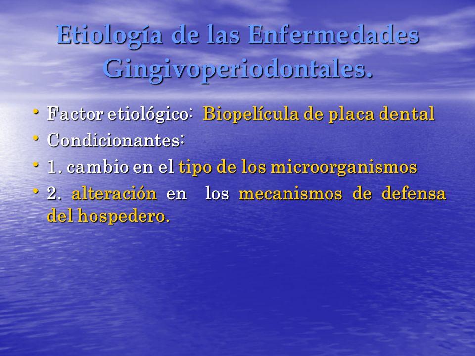 Etiología de las Enfermedades Gingivoperiodontales. Factor etiológico: Biopelícula de placa dental Factor etiológico: Biopelícula de placa dental Cond