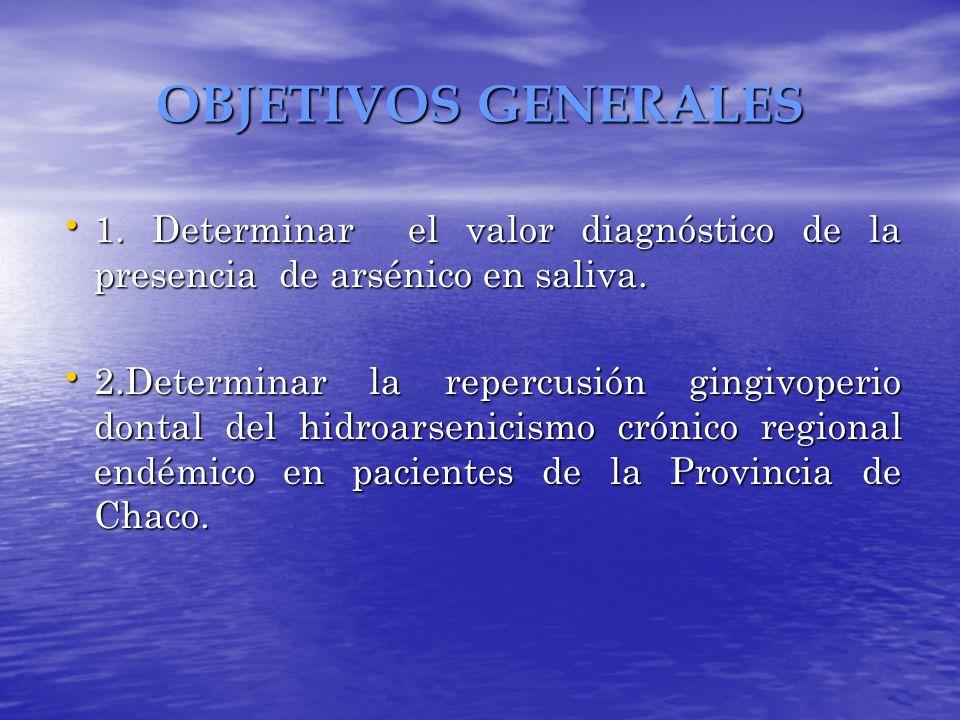 OBJETIVOS GENERALES 1. Determinar el valor diagnóstico de la presencia de arsénico en saliva. 1. Determinar el valor diagnóstico de la presencia de ar