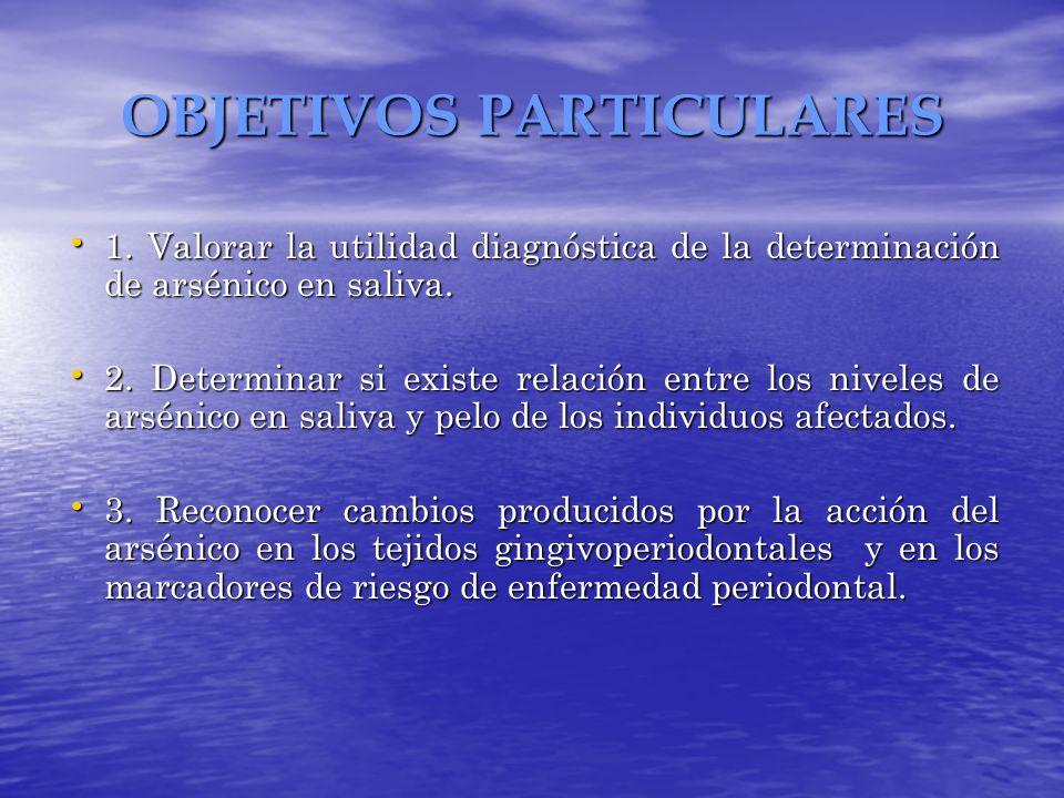 OBJETIVOS PARTICULARES 1. Valorar la utilidad diagnóstica de la determinación de arsénico en saliva. 1. Valorar la utilidad diagnóstica de la determin