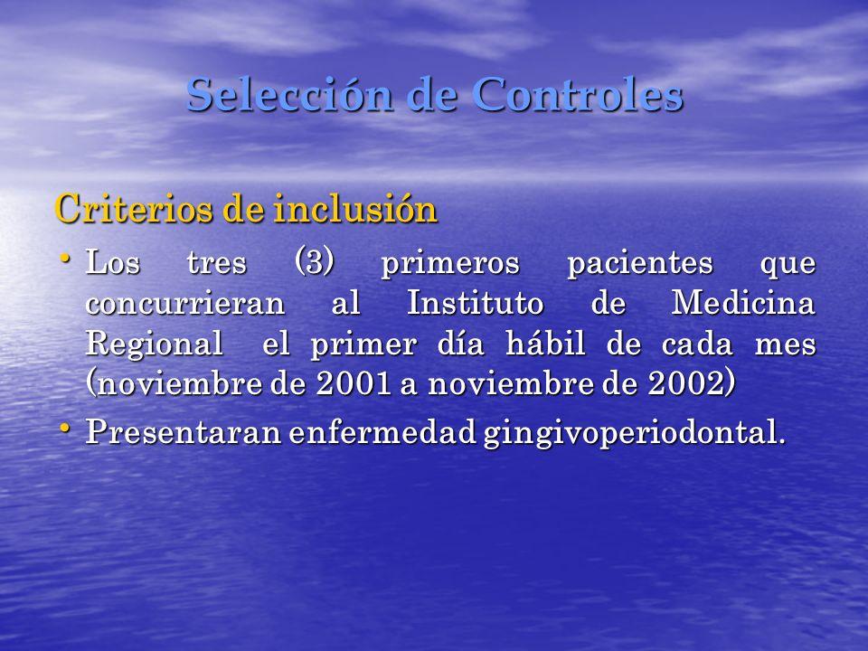 Selección de Controles Criterios de inclusión Los tres (3) primeros pacientes que concurrieran al Instituto de Medicina Regional el primer día hábil d