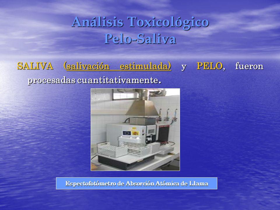 Análisis Toxicológico Pelo-Saliva SALIVA (salivación estimulada) y PELO, fueron procesadas cuantitativamente. Espectofotómetro de Absorción Atómica de