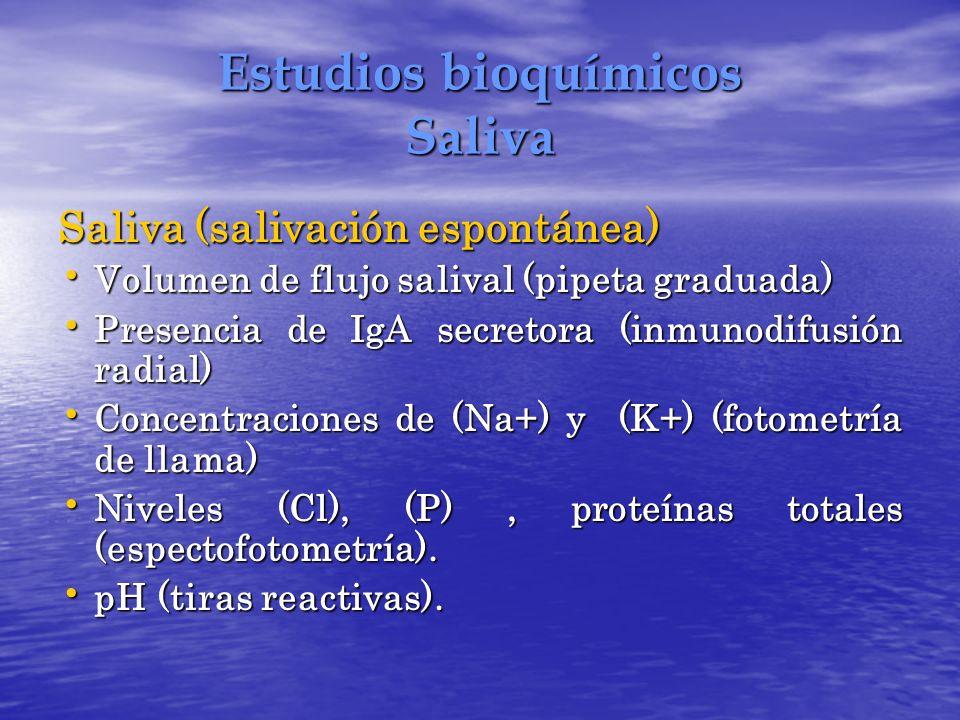 Estudios bioquímicos Saliva Saliva (salivación espontánea) Volumen de flujo salival (pipeta graduada) Volumen de flujo salival (pipeta graduada) Prese