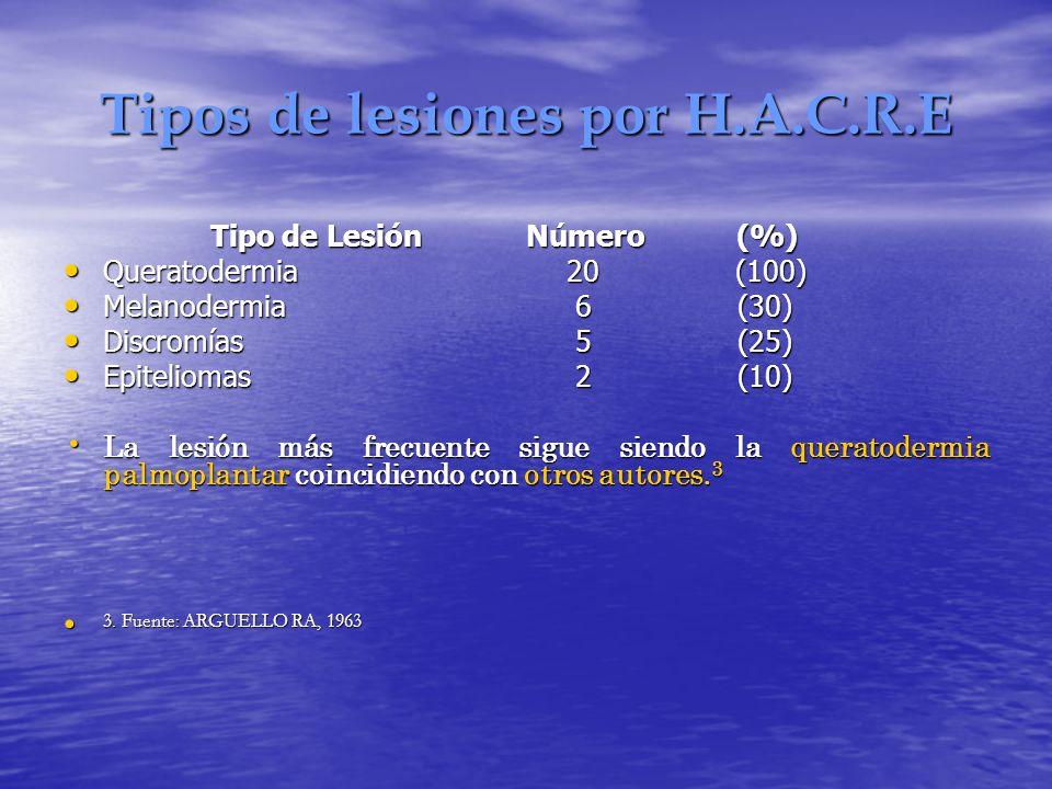 Tipos de lesiones por H.A.C.R.E Tipo de Lesión Número (%) Queratodermia 20 (100) Queratodermia 20 (100) Melanodermia 6 (30) Melanodermia 6 (30) Discro