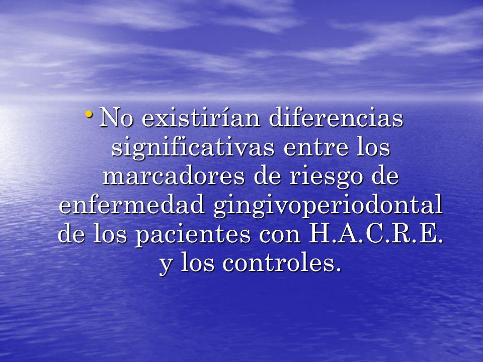 No existirían diferencias significativas entre los marcadores de riesgo de enfermedad gingivoperiodontal de los pacientes con H.A.C.R.E. y los control