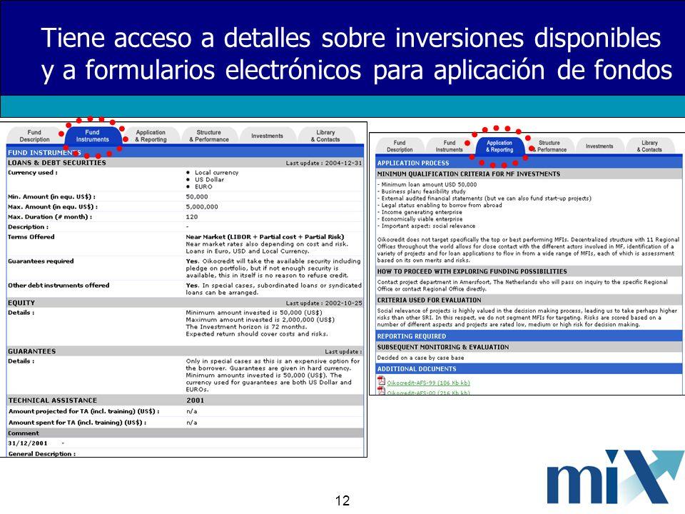 12 Tiene acceso a detalles sobre inversiones disponibles y a formularios electrónicos para aplicación de fondos