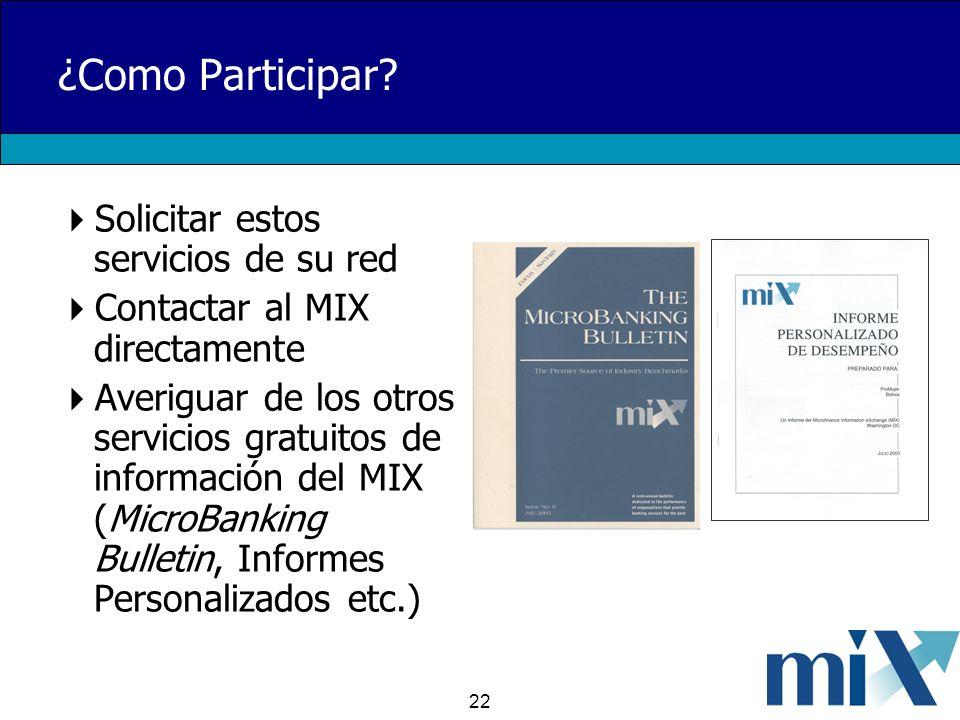 22 ¿Como Participar? Solicitar estos servicios de su red Contactar al MIX directamente Averiguar de los otros servicios gratuitos de información del M