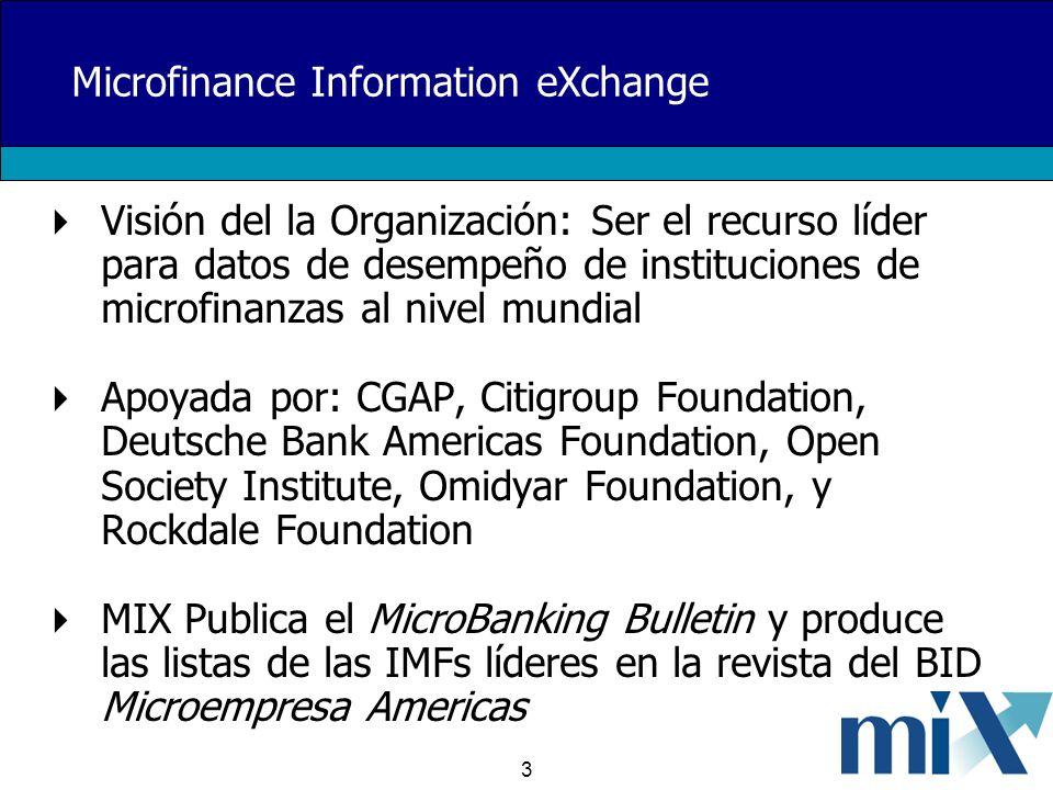 3 Microfinance Information eXchange Visión del la Organización: Ser el recurso líder para datos de desempeño de instituciones de microfinanzas al nive