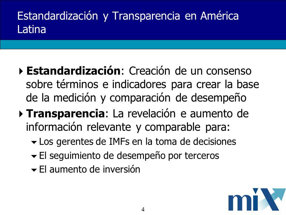 4 Estandardización y Transparencia en América Latina Estandardización: Creación de un consenso sobre términos e indicadores para crear la base de la medición y comparación de desempeño Transparencia: La revelación e aumento de información relevante y comparable para: Los gerentes de IMFs en la toma de decisiones El seguimiento de desempeño por terceros El aumento de inversión