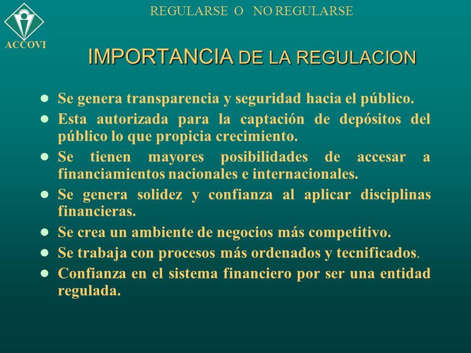 IMPORTANCIA DE LA REGULACION ACCOVI REGULARSE O NO REGULARSE Se genera transparencia y seguridad hacia el público. Esta autorizada para la captación d