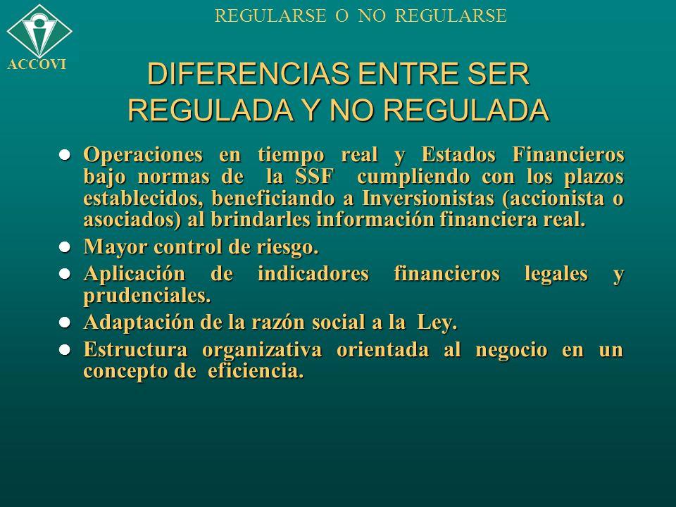 DIFERENCIAS ENTRE SER REGULADA Y NO REGULADA Operaciones en tiempo real y Estados Financieros bajo normas de la SSF cumpliendo con los plazos establec