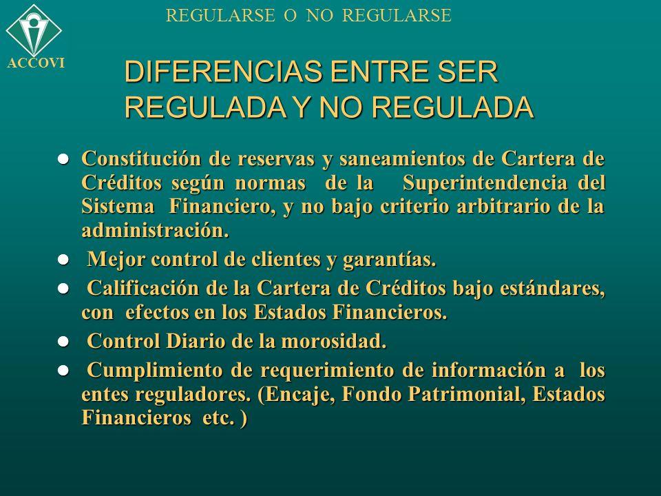 DIFERENCIAS ENTRE SER REGULADA Y NO REGULADA Constitución de reservas y saneamientos de Cartera de Créditos según normas de la Superintendencia del Si