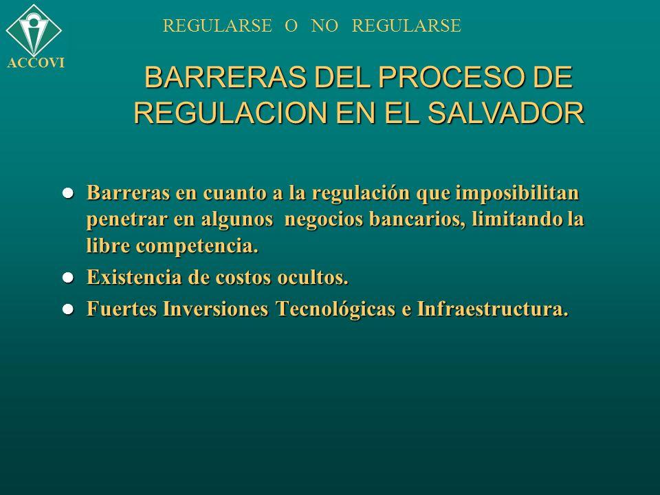 BARRERAS DEL PROCESO DE REGULACION EN EL SALVADOR ACCOVI REGULARSE O NO REGULARSE Barreras en cuanto a la regulación que imposibilitan penetrar en alg