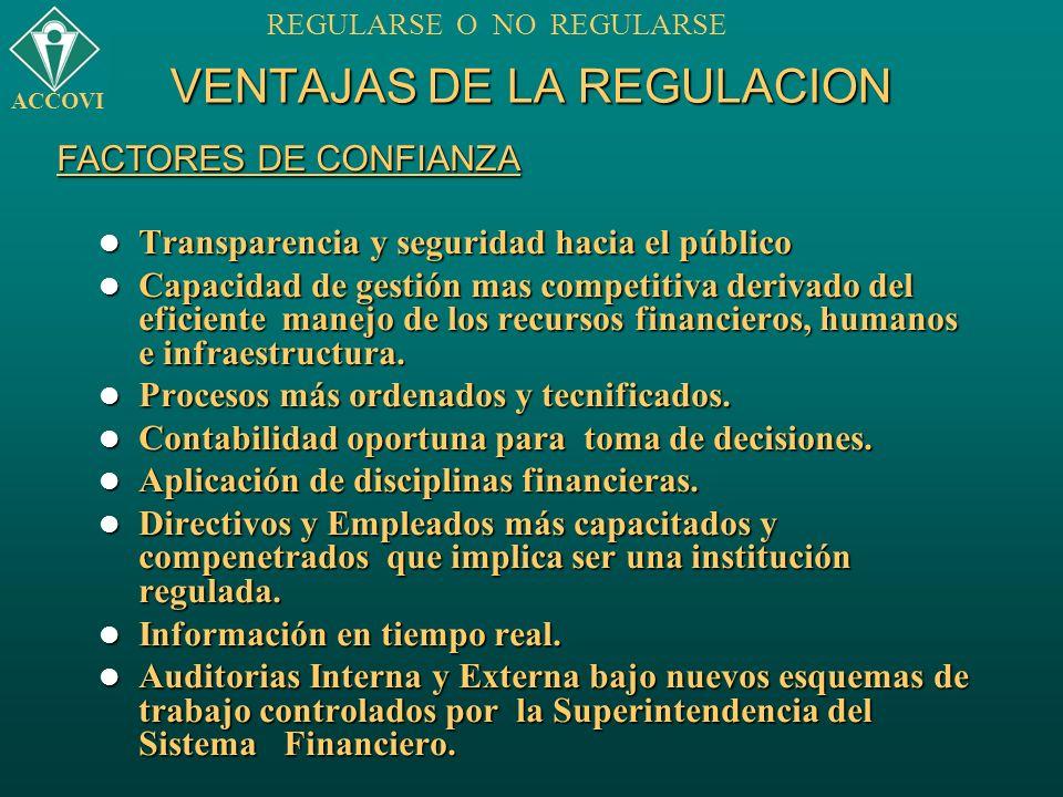 VENTAJAS DE LA REGULACION Transparencia y seguridad hacia el público Transparencia y seguridad hacia el público Capacidad de gestión mas competitiva d