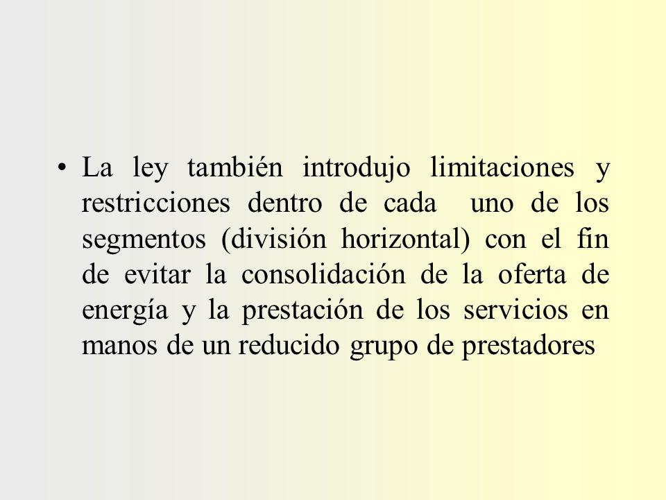 La ley también introdujo limitaciones y restricciones dentro de cada uno de los segmentos (división horizontal) con el fin de evitar la consolidación