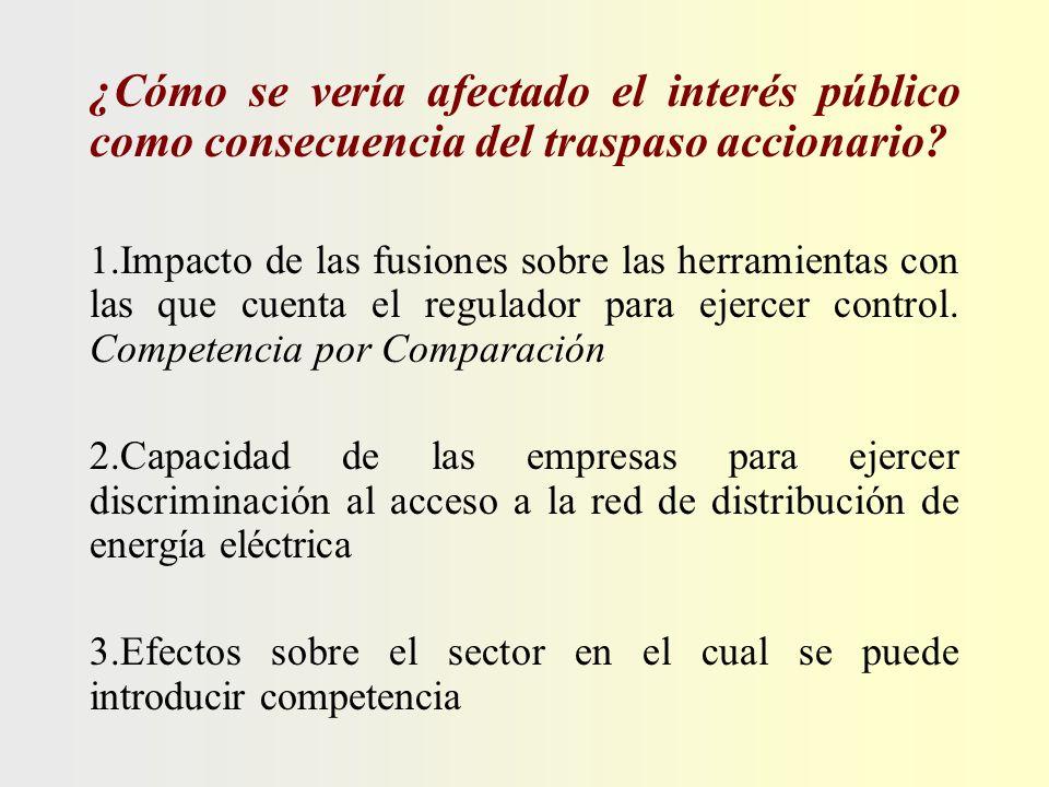 ¿Cómo se vería afectado el interés público como consecuencia del traspaso accionario? 1.Impacto de las fusiones sobre las herramientas con las que cue