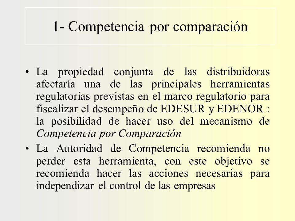 1- Competencia por comparación La propiedad conjunta de las distribuidoras afectaría una de las principales herramientas regulatorias previstas en el
