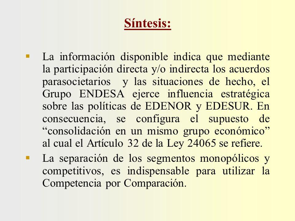 Síntesis: La información disponible indica que mediante la participación directa y/o indirecta los acuerdos parasocietarios y las situaciones de hecho, el Grupo ENDESA ejerce influencia estratégica sobre las políticas de EDENOR y EDESUR.