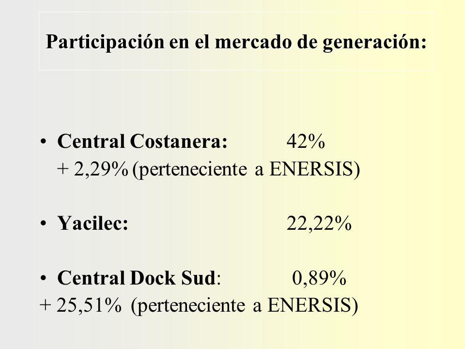 Participación en el mercado de generación: Central Costanera: 42% + 2,29% (perteneciente a ENERSIS) Yacilec: 22,22% Central Dock Sud: 0,89% + 25,51% (