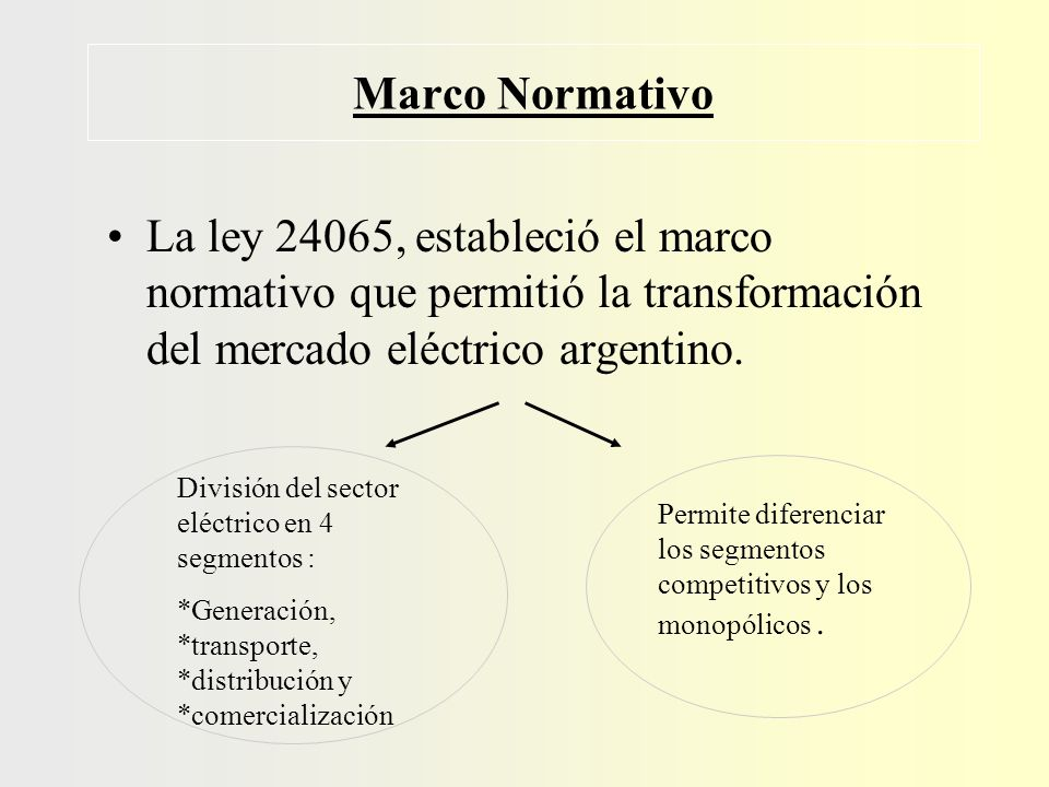 Generación competencia Transmisión de alta tensión monopolio natural Distribución a usuarios finales monopolio natural Comercialización competencia