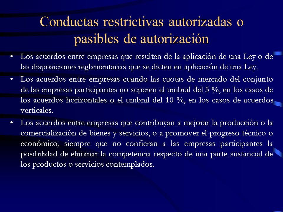 Conductas restrictivas autorizadas o pasibles de autorización (cont.) Los acuerdos entre empresas que tengan por objeto defender y promover las exportaciones, siempre que no alteren la competencia en el mercado interno y sean compatibles con las obligaciones que resulten de los Convenios internacionales ratificados por Paraguay.