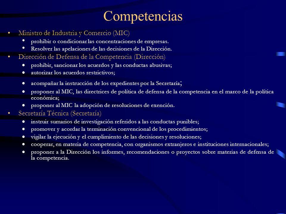 Competencias Ministro de Industria y Comercio (MIC) prohibir o condicionar las concentraciones de empresas. Resolver las apelaciones de las decisiones