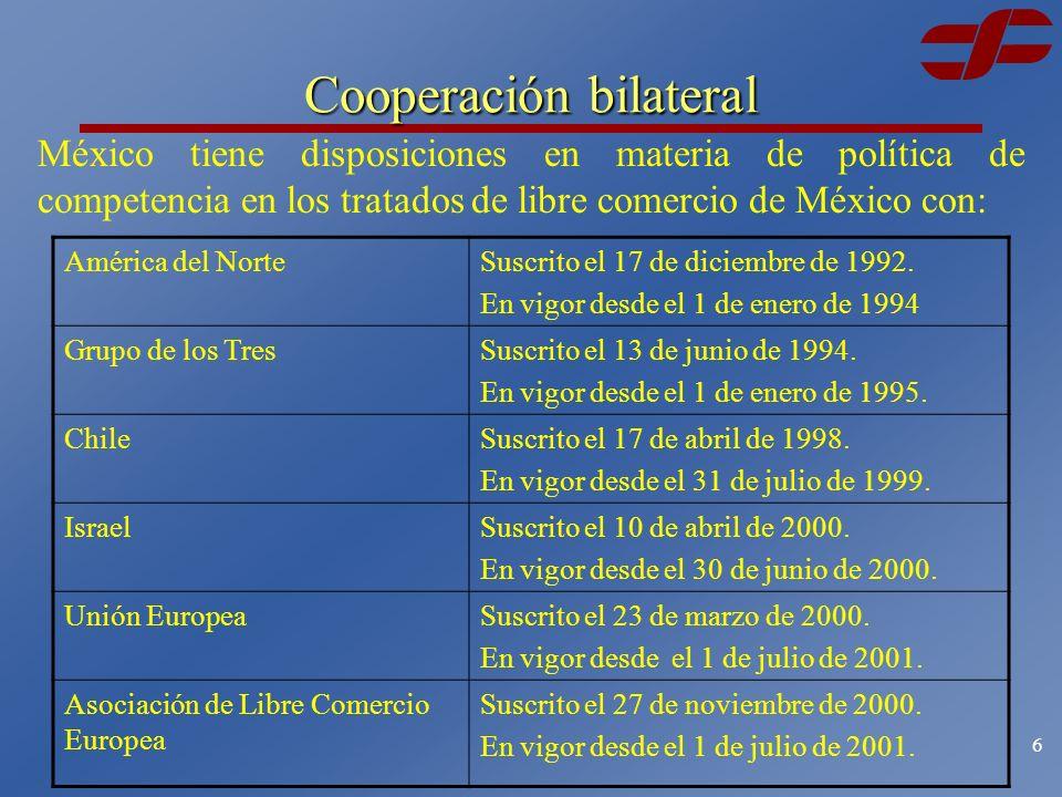 5 Acuerdos bilaterales Durante el 2002, la Comisión realizó: 75 notificaciones de carácter internacional 52 a Estados Unidos 23 a la Unión Europea.
