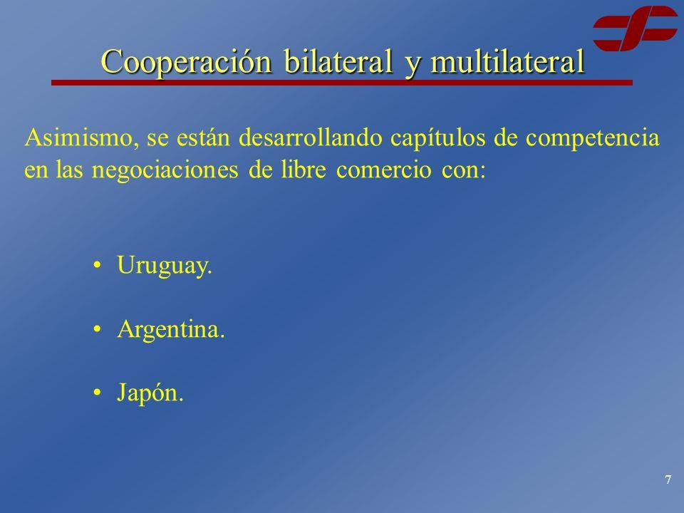 6 México tiene disposiciones en materia de política de competencia en los tratados de libre comercio de México con: Cooperación bilateral América del NorteSuscrito el 17 de diciembre de 1992.