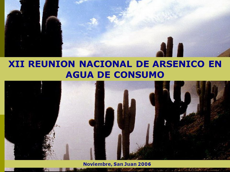 San Juan, Noviembre del 2006 XII REUNION NACIONAL DE ARSENICO EN AGUA DE CONSUMO Noviembre, San Juan 2006
