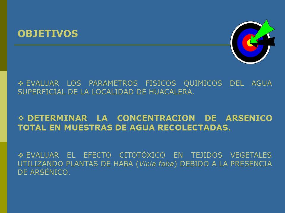 OBJETIVOS EVALUAR LOS PARAMETROS FISICOS QUIMICOS DEL AGUA SUPERFICIAL DE LA LOCALIDAD DE HUACALERA.
