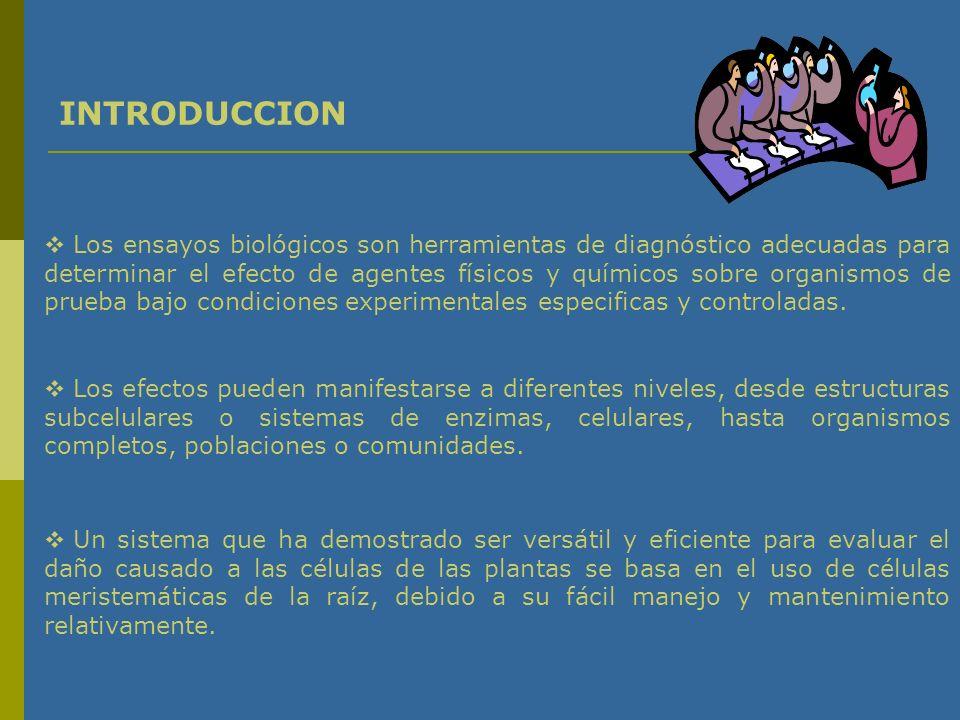 Los ensayos biológicos son herramientas de diagnóstico adecuadas para determinar el efecto de agentes físicos y químicos sobre organismos de prueba bajo condiciones experimentales especificas y controladas.