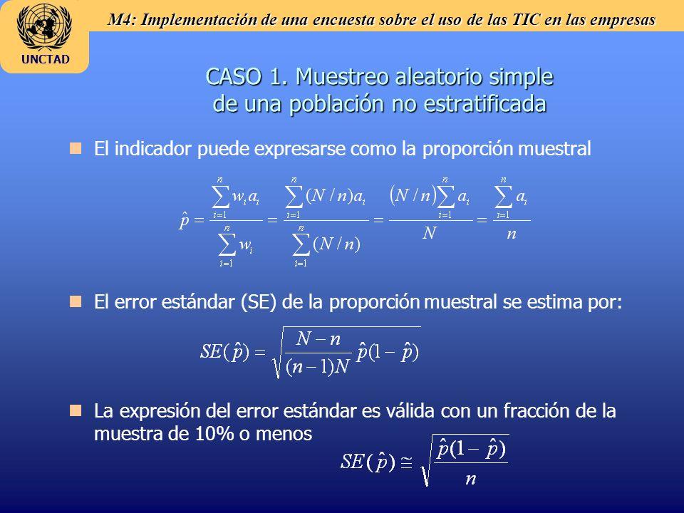 M4: Implementación de una encuesta sobre el uso de las TIC en las empresas UNCTAD n nEl indicador puede expresarse como la proporción muestral n nEl error estándar (SE) de la proporción muestral se estima por: n nLa expresión del error estándar es válida con un fracción de la muestra de 10% o menos CASO 1.