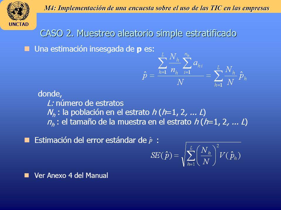 M4: Implementación de una encuesta sobre el uso de las TIC en las empresas UNCTAD CASO 2. Muestreo aleatorio simple estratificado n nUna estimación in