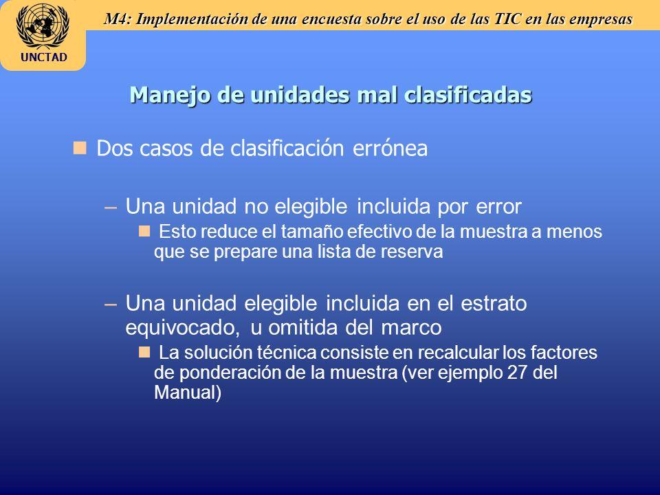 M4: Implementación de una encuesta sobre el uso de las TIC en las empresas UNCTAD Manejo de unidades mal clasificadas n nDos casos de clasificación errónea – –Una unidad no elegible incluida por error n n Esto reduce el tamaño efectivo de la muestra a menos que se prepare una lista de reserva – –Una unidad elegible incluida en el estrato equivocado, u omitida del marco n n La solución técnica consiste en recalcular los factores de ponderación de la muestra (ver ejemplo 27 del Manual)