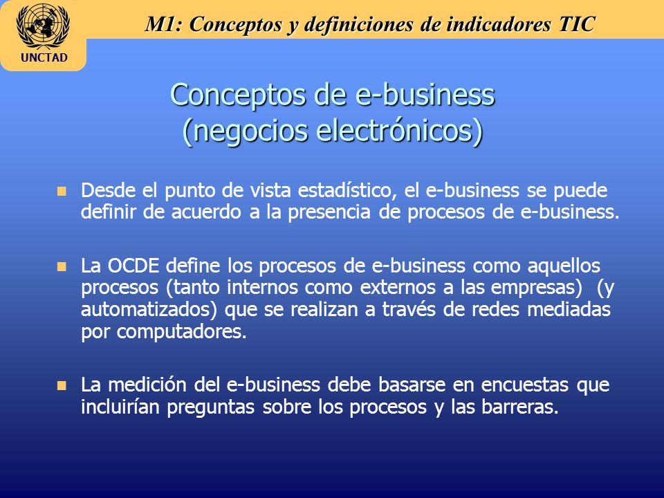 M1: Conceptos y definiciones de indicadores TIC UNCTAD Conceptos de e-business (negocios electrónicos) n Desde el punto de vista estadístico, el e-bus