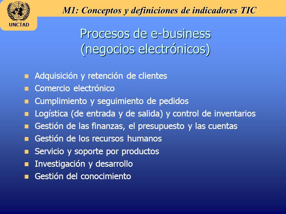 M1: Conceptos y definiciones de indicadores TIC UNCTAD Procesos de e-business (negocios electrónicos) n Adquisición y retención de clientes n Comercio electrónico n Cumplimiento y seguimiento de pedidos n Logística (de entrada y de salida) y control de inventarios n Gestión de las finanzas, el presupuesto y las cuentas n Gestión de los recursos humanos n Servicio y soporte por productos n Investigación y desarrollo n Gestión del conocimiento