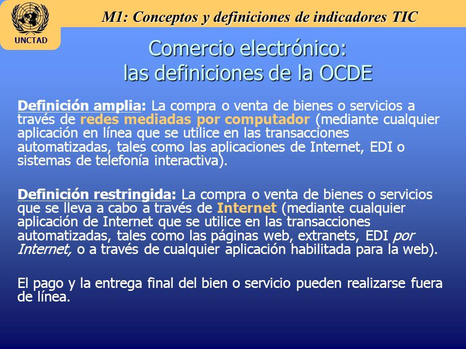 M1: Conceptos y definiciones de indicadores TIC UNCTAD Comercio electrónico: las definiciones de la OCDE Definición amplia: La compra o venta de bienes o servicios a través de redes mediadas por computador (mediante cualquier aplicación en línea que se utilice en las transacciones automatizadas, tales como las aplicaciones de Internet, EDI o sistemas de telefonía interactiva).