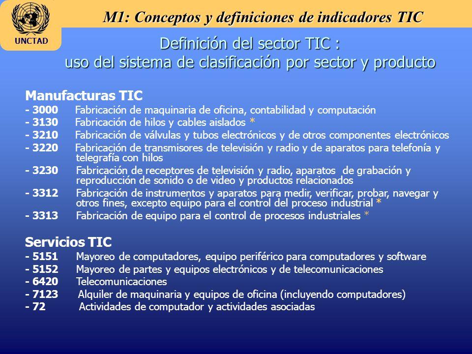 M1: Conceptos y definiciones de indicadores TIC UNCTAD Definición del sector TIC : uso del sistema de clasificación por sector y producto Manufacturas TIC - 3000 Fabricación de maquinaria de oficina, contabilidad y computación - 3130 Fabricación de hilos y cables aislados * - 3210 Fabricación de válvulas y tubos electrónicos y de otros componentes electrónicos - 3220 Fabricación de transmisores de televisión y radio y de aparatos para telefonía y telegrafía con hilos - 3230 Fabricación de receptores de televisión y radio, aparatos de grabación y reproducción de sonido o de video y productos relacionados - 3312Fabricación de instrumentos y aparatos para medir, verificar, probar, navegar y otros fines, excepto equipo para el control del proceso industrial * - 3313Fabricación de equipo para el control de procesos industriales * Servicios TIC - 5151Mayoreo de computadores, equipo periférico para computadores y software - 5152Mayoreo de partes y equipos electrónicos y de telecomunicaciones - 6420 Telecomunicaciones - 7123 Alquiler de maquinaria y equipos de oficina (incluyendo computadores) - 72 Actividades de computador y actividades asociadas